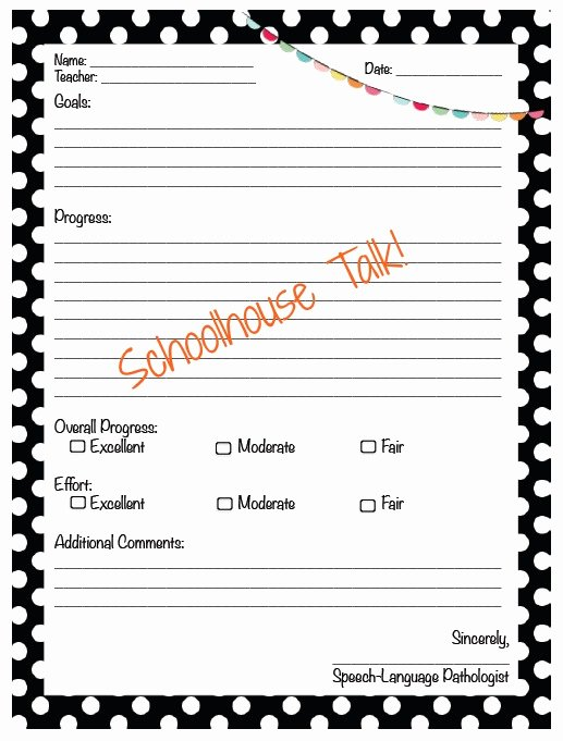Speech therapy Progress Notes Template Best Of Schoolhouse Talk Freebie Progress Report Templates