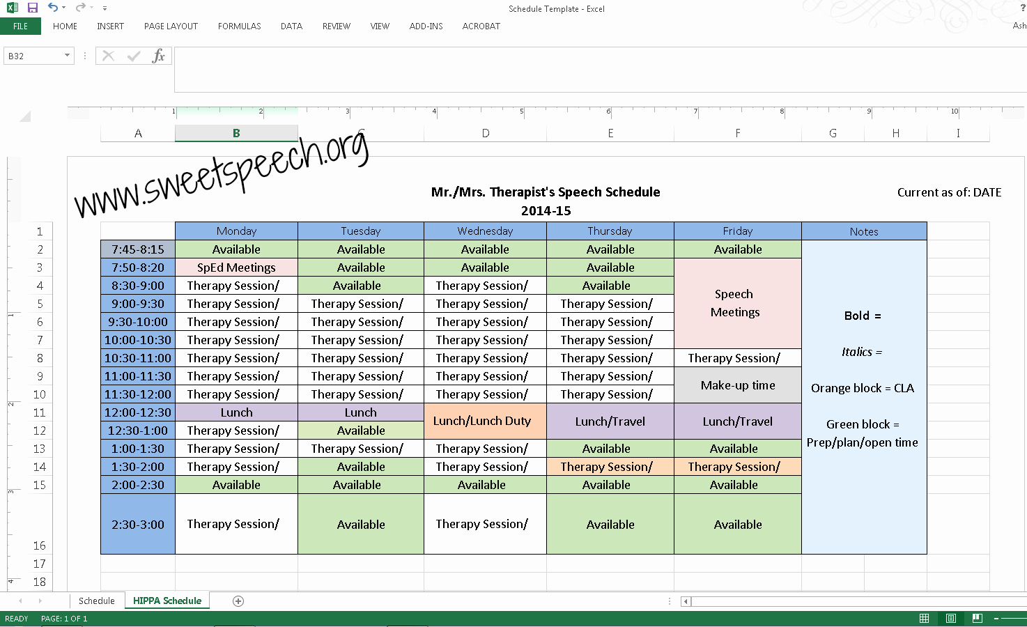 Speech therapy Schedule Template Awesome therapy Schedule Template