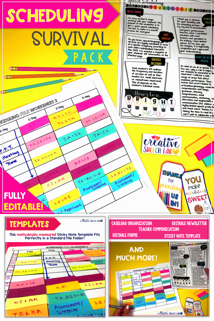 Speech therapy Schedule Template Beautiful Speech therapy Scheduling Survival Pack Editable