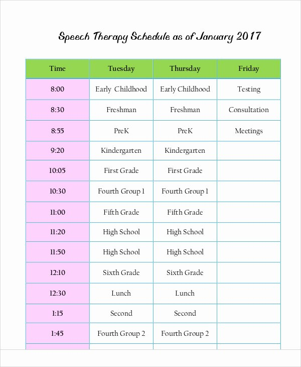 Speech therapy Schedule Template Best Of 9 therapy Schedule Templates Sample Example