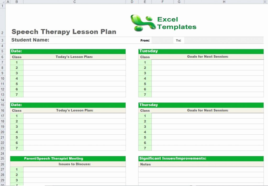Speech therapy Schedule Template Elegant Speech therapy Lesson Plan Template
