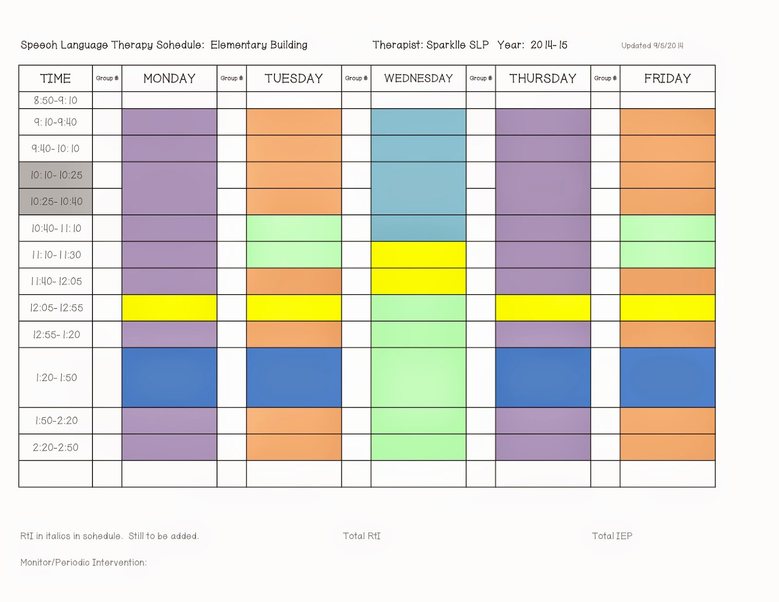 Speech therapy Schedule Template New Scheduling Done Right E First Time Sparklle Slp