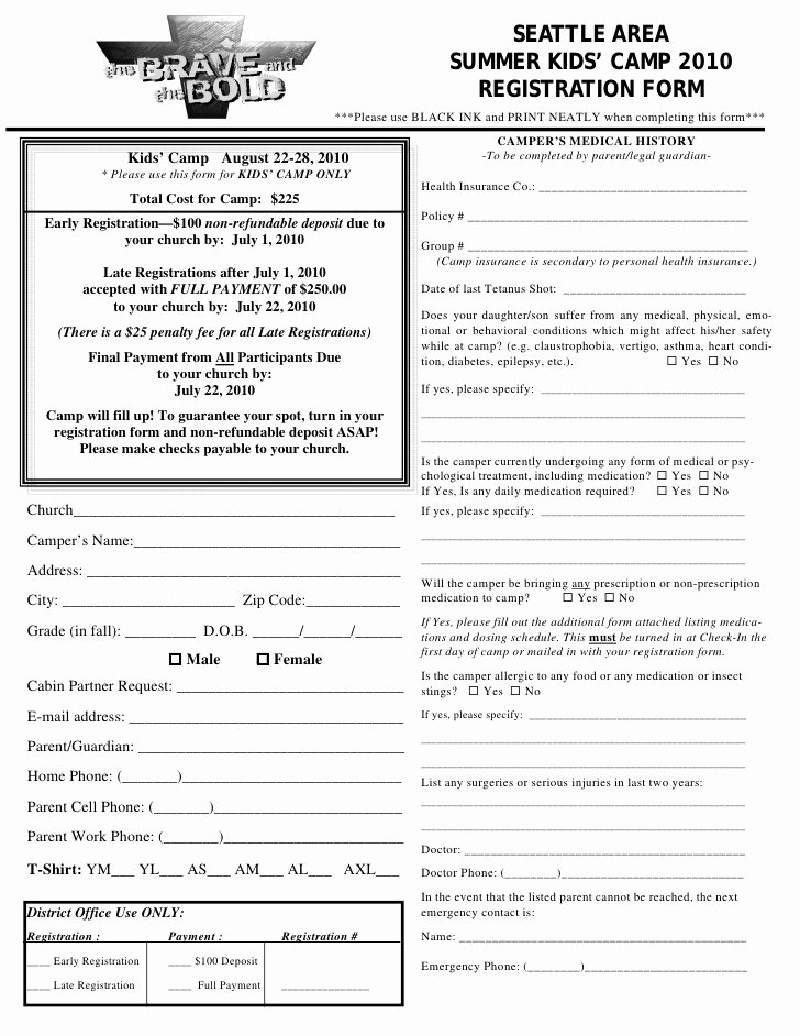 Sports Registration form Template Beautiful Kids Camp Registration form