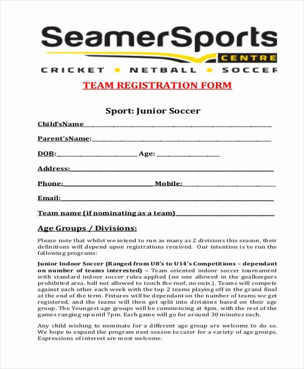 Sports Registration form Template Best Of Registration form Templates