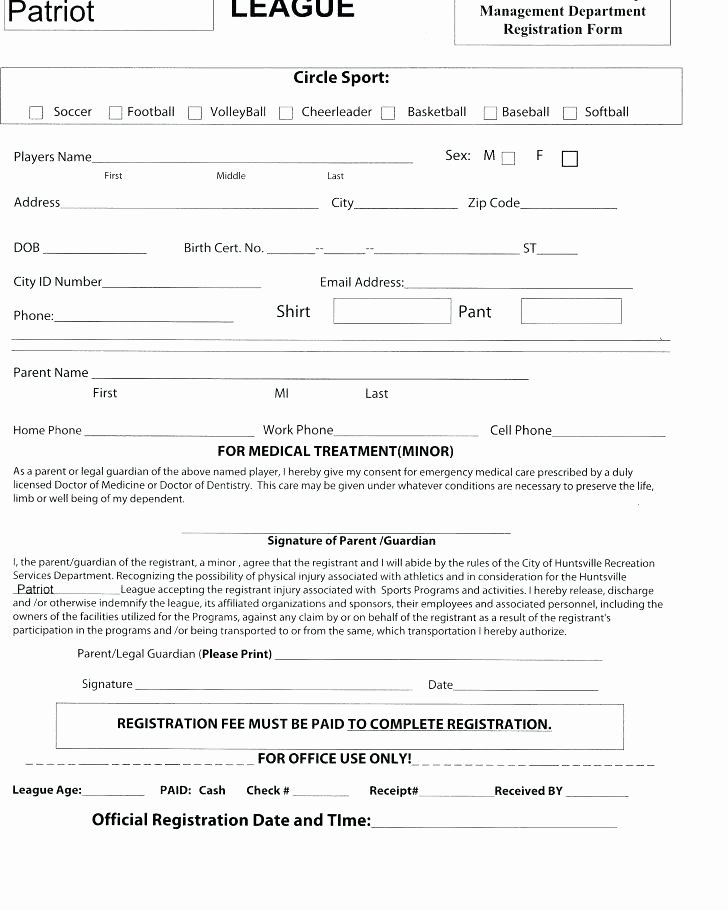 Sports Registration form Template Elegant Registration forms In Sports Team form Template Business