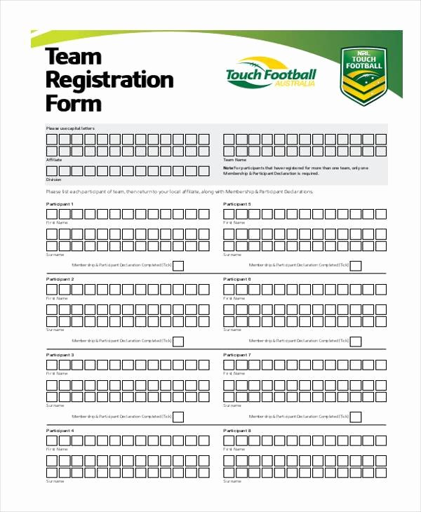 Sports Registration form Template Fresh Sports Team Registration form Template Templates On soccer