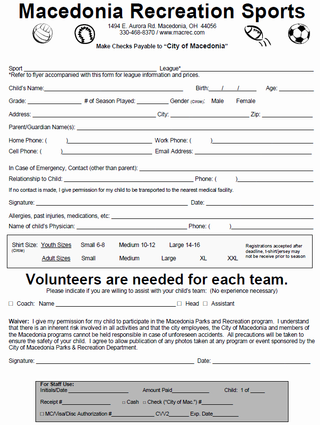 Sports Registration form Template Fresh Youth Sports