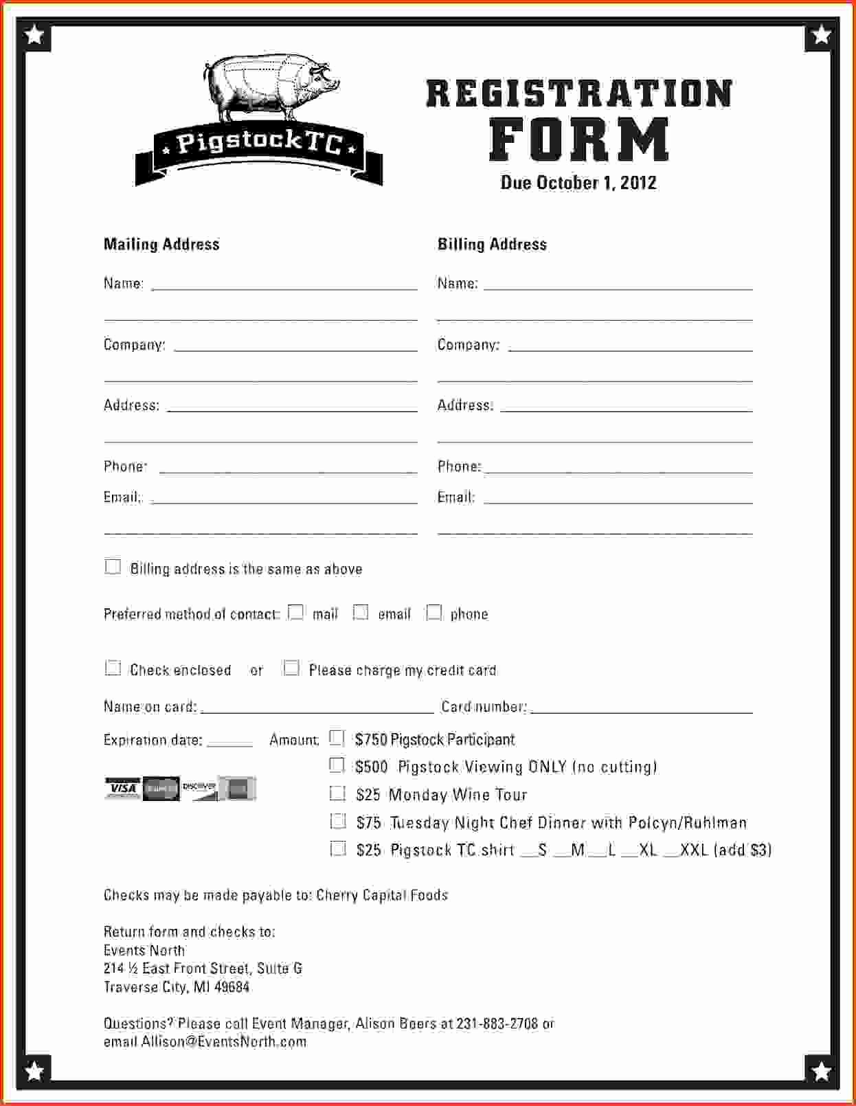 Sports Registration form Template Inspirational Printable Registration form Template