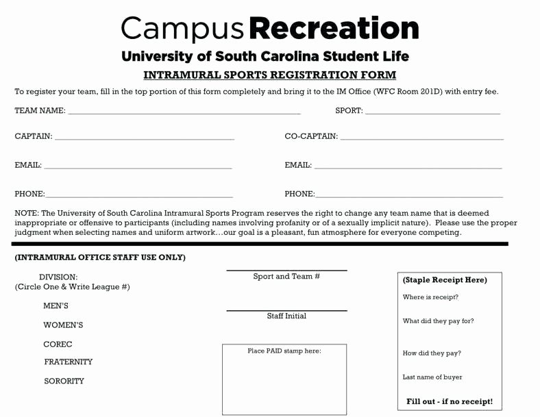Sports Registration form Template Lovely soccer Roster Template for Excel Example Sports Team