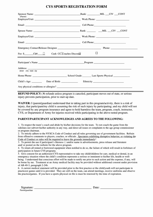 Sports Registration form Template Luxury 60 Sports Registration form Templates Free to In Pdf