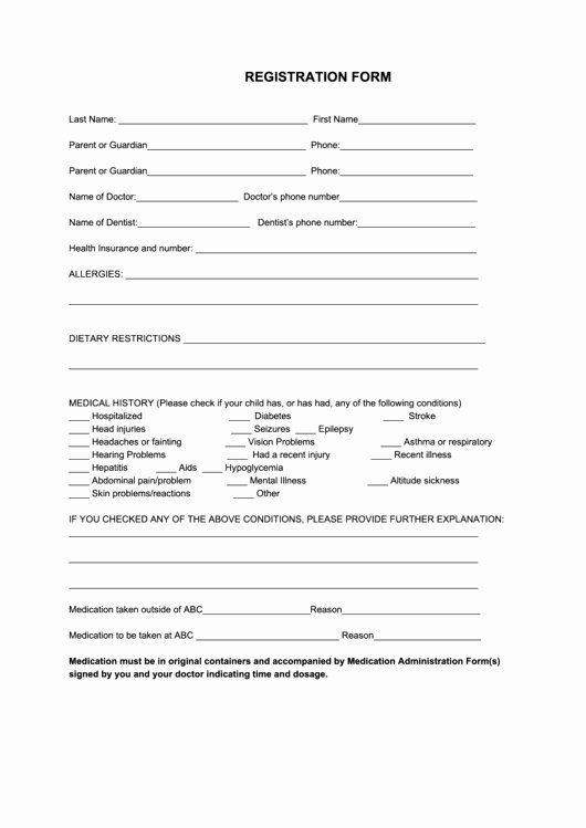 Sports Registration form Template New Downloads Sports Registration form Template Free