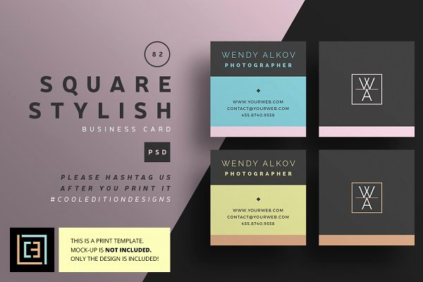Square Business Card Template Free Best Of Business Card Templates Creative Market