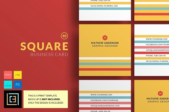 Square Business Card Template Free Best Of Square Business Card 40 Business Card Templates On
