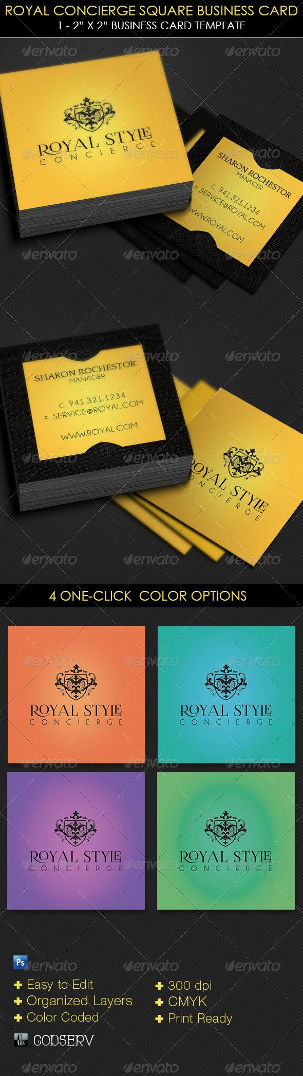 Square Business Card Template Free Luxury Royal Concierge Square Business Card Template by Godserv