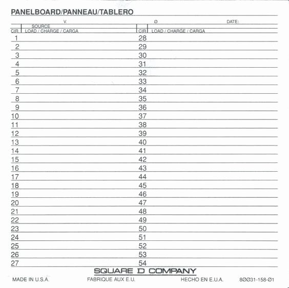 Square D Panel Schedule Template Luxury Electrical Panel Schedule Template Fresh Square D
