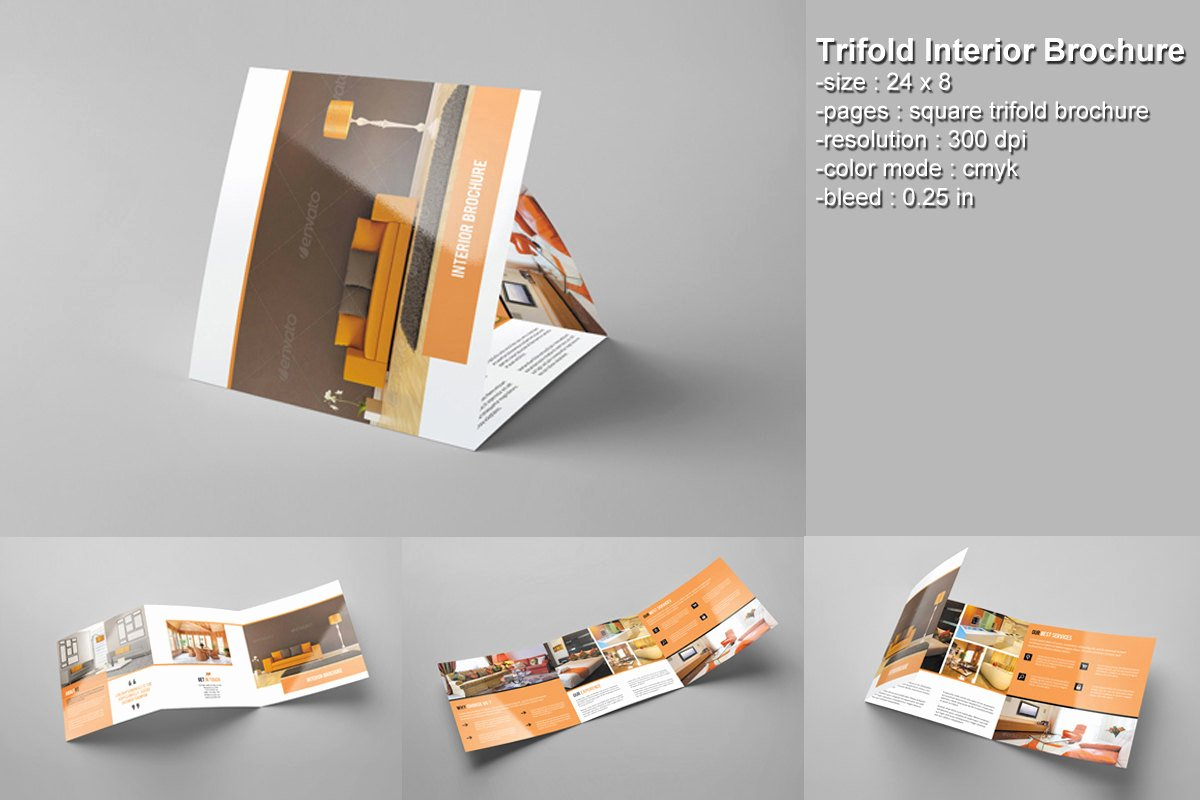 Square Trifold Brochure Template Awesome Square Trifold Brochure Interior Design Brochure Shop