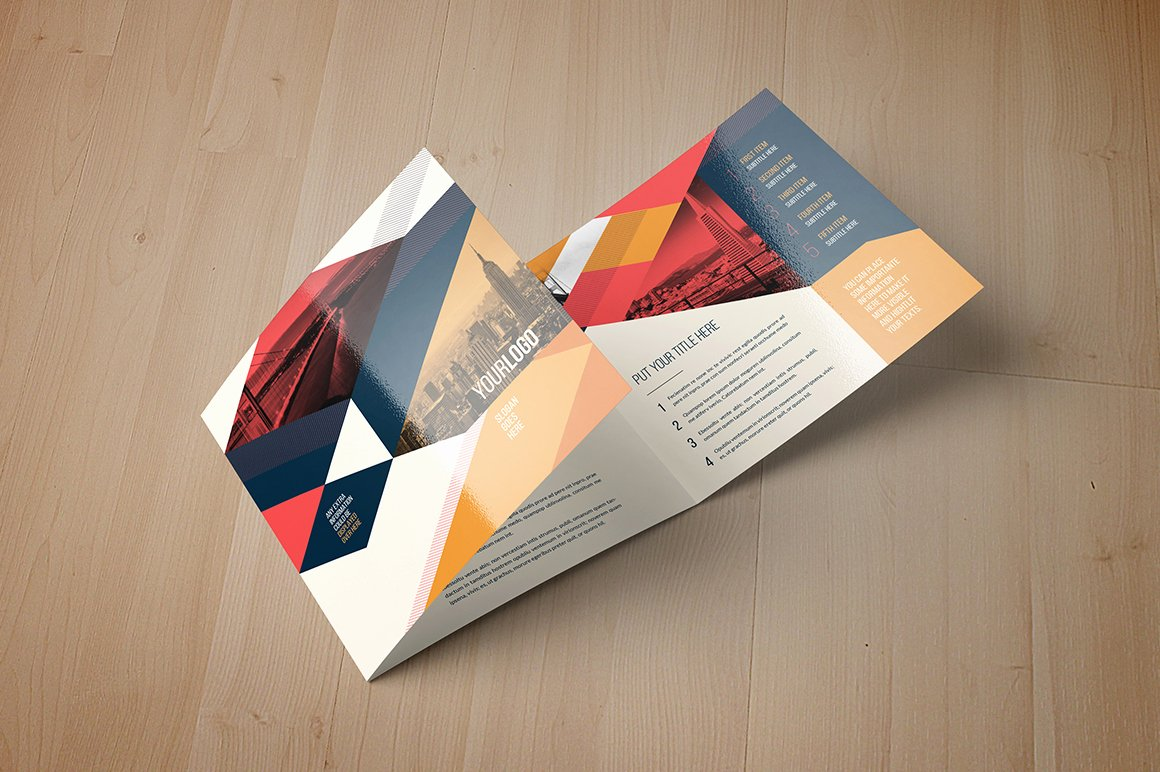 Square Trifold Brochure Template Best Of Vintage Square Trifold Brochure Brochure Templates On
