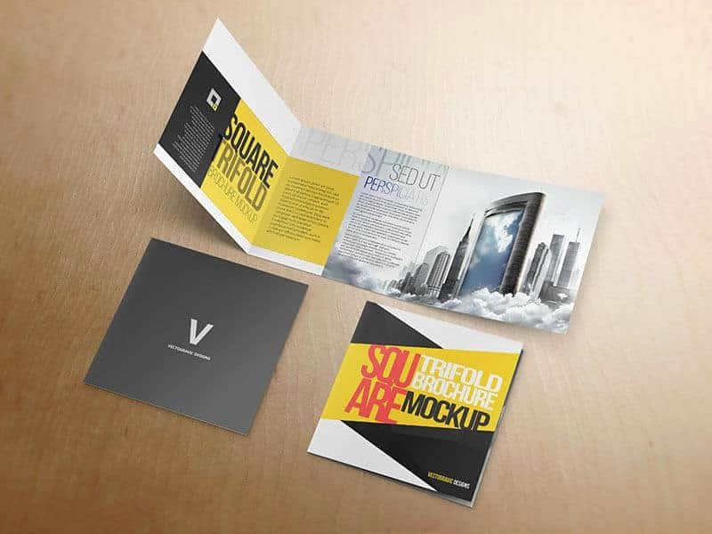 Square Trifold Brochure Template Elegant Square Tri Fold Brochure Mockup On Vectogravic