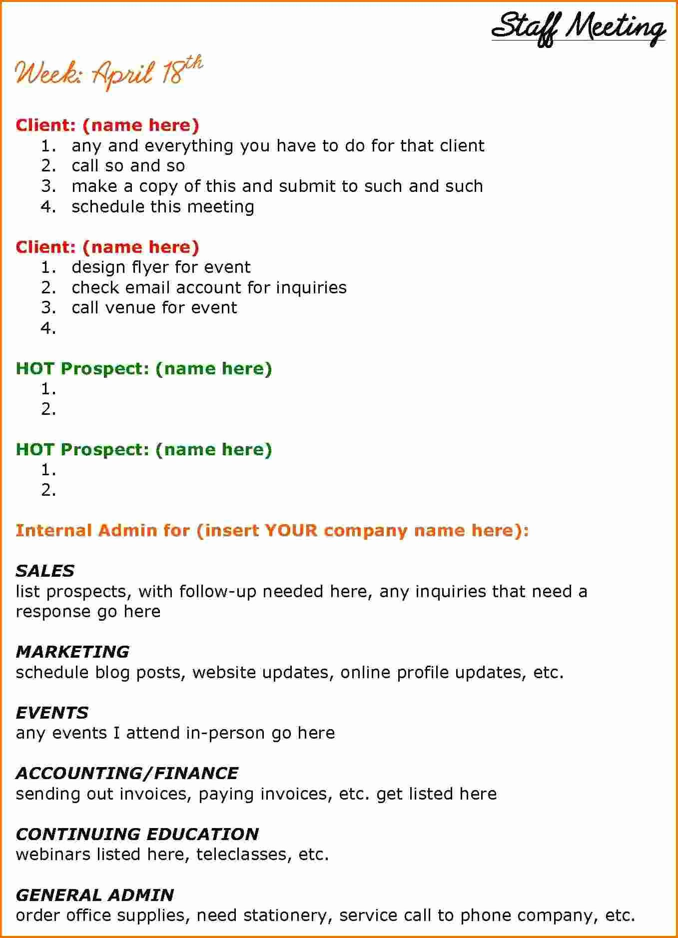 Staff Meeting Agenda Template Awesome 6 Staff Meeting Agenda Template