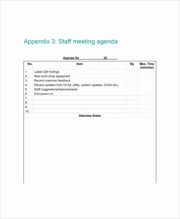 Staff Meeting Agenda Template Awesome 9 Staff Meeting Agenda Templates – Free Sample Example