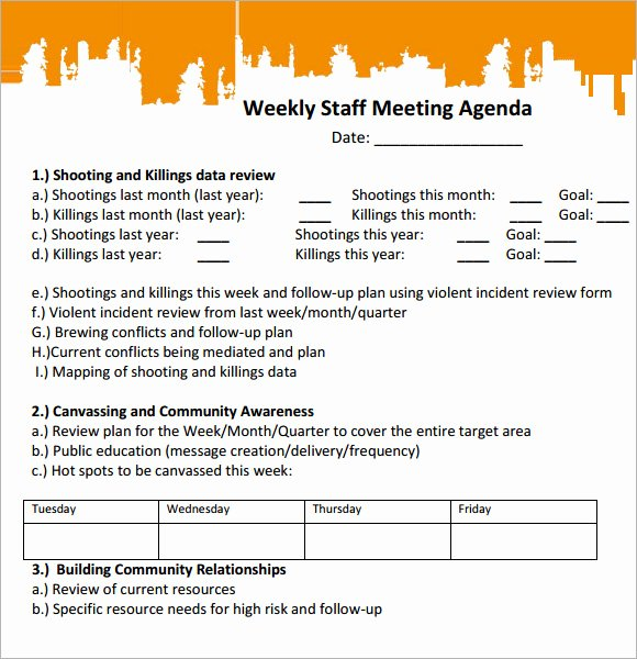 Staff Meeting Agenda Template Awesome Sample Staff Meeting Agenda – 5 Example format
