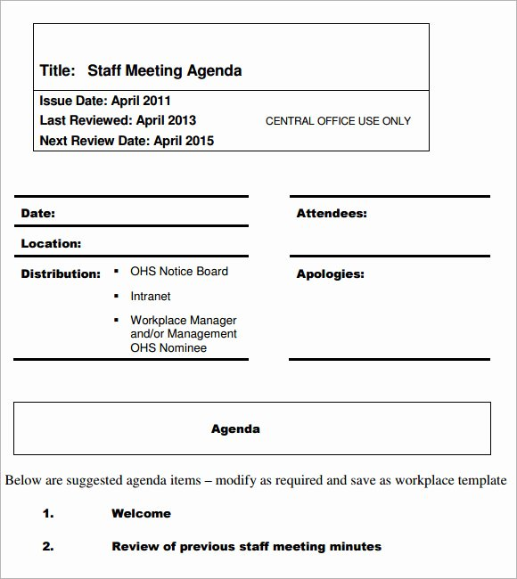 Staff Meeting Agenda Template Best Of 5 Staff Meeting Agenda Samples