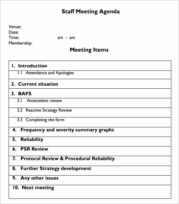 Staff Meeting Agenda Template Best Of Sample Staff Meeting Agenda – 5 Example format