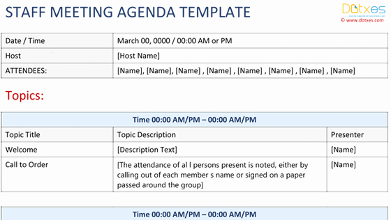 Staff Meeting Agenda Template Fresh Conference Agenda Template Basic format Dotxes