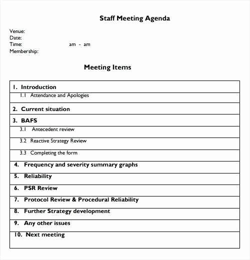 Staff Meeting Agenda Template Inspirational 9 10 Sample Of Agenda for Staff Meeting