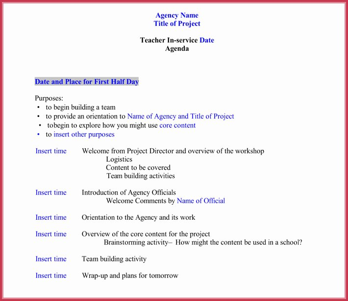 Staff Meeting Agenda Template Lovely 7 Staff Meeting Agenda Templates Samples In Word & Pdf