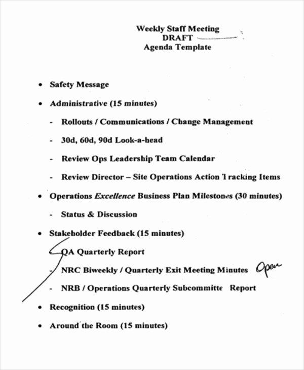 Staff Meeting Agenda Template Luxury 41 Meeting Agenda Templates