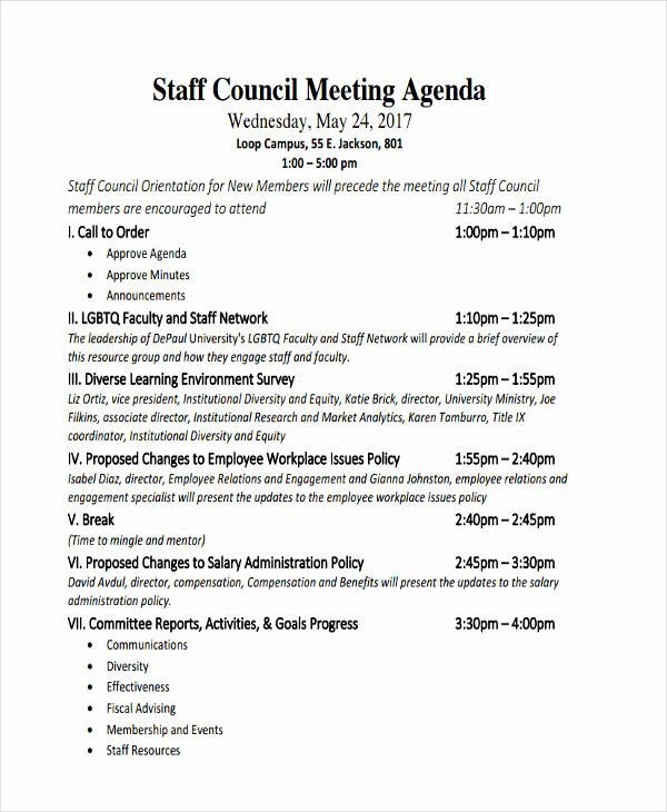 Staff Meeting Agenda Template Luxury 46 Meeting Agenda Templates