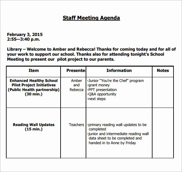 Staff Meeting Agenda Template New 5 Staff Meeting Agenda Samples