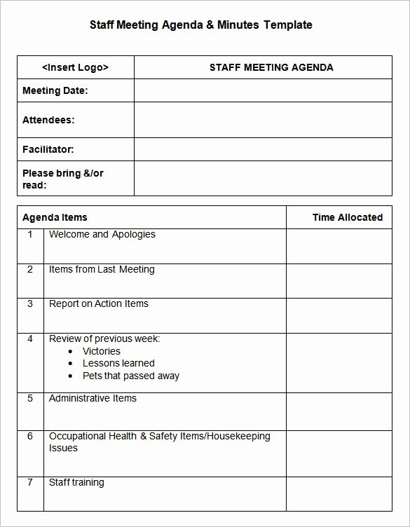 Staff Meeting Agenda Template New Meeting Minutes Template 25 Free Samples Examples