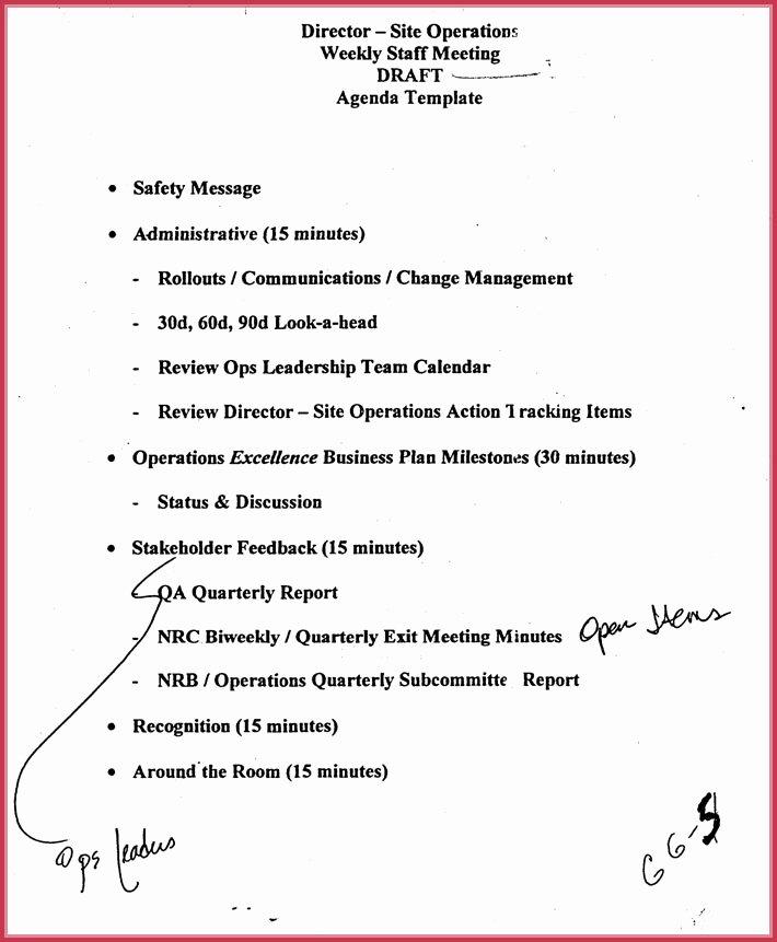 Staff Meetings Agenda Template Beautiful Weekly Meeting Agenda Template 9 Samples formats In