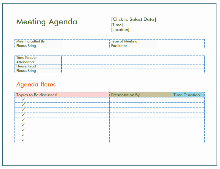 Staff Meetings Agenda Template Elegant Basic Meeting Agenda Template formal & Informal Meetings