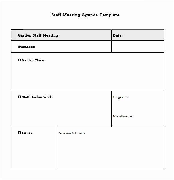 Staff Meetings Agenda Template Inspirational Staff Meeting Agenda – 7 Free Samples Examples format