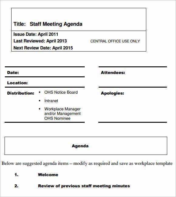 Staff Meetings Agenda Template Lovely 5 Staff Meeting Agenda Samples