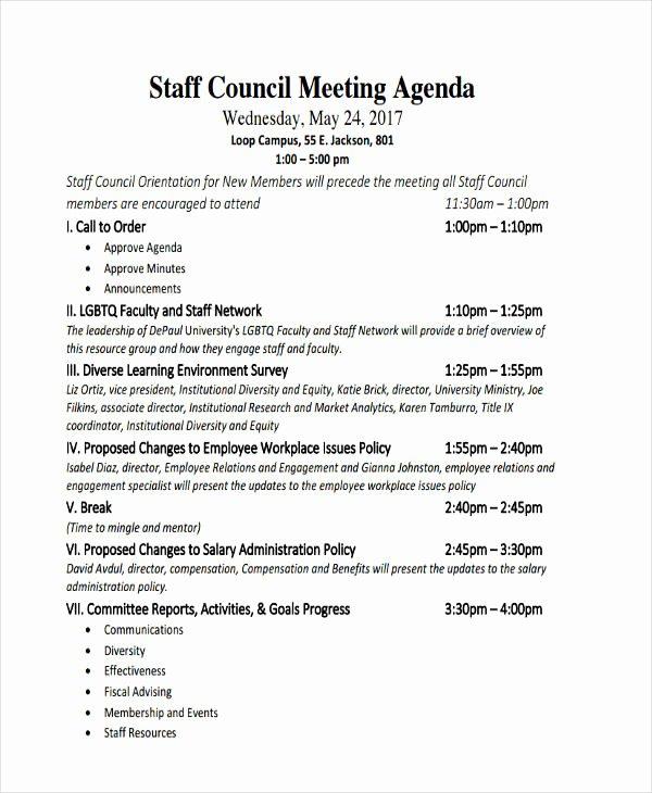 Staff Meetings Agenda Template New 46 Meeting Agenda Templates
