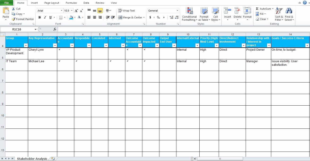 Stakeholder Analysis Template Excel Awesome Free Stakeholder Analysis Template Project Management