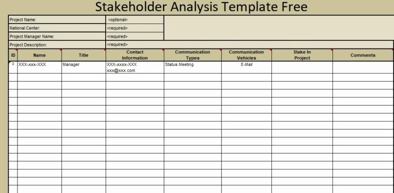 Stakeholder Analysis Template Excel Elegant Microsoft Excel Templates March 2018