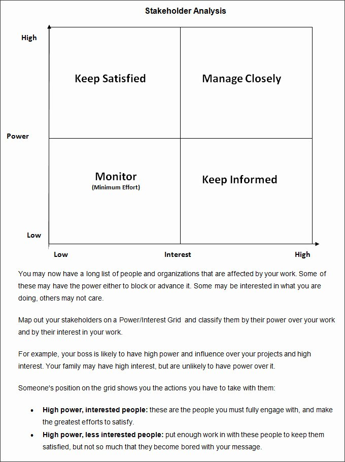 Stakeholder Analysis Template Excel Inspirational Stakeholder Analysis Template 8 Free Word Excel Pdf