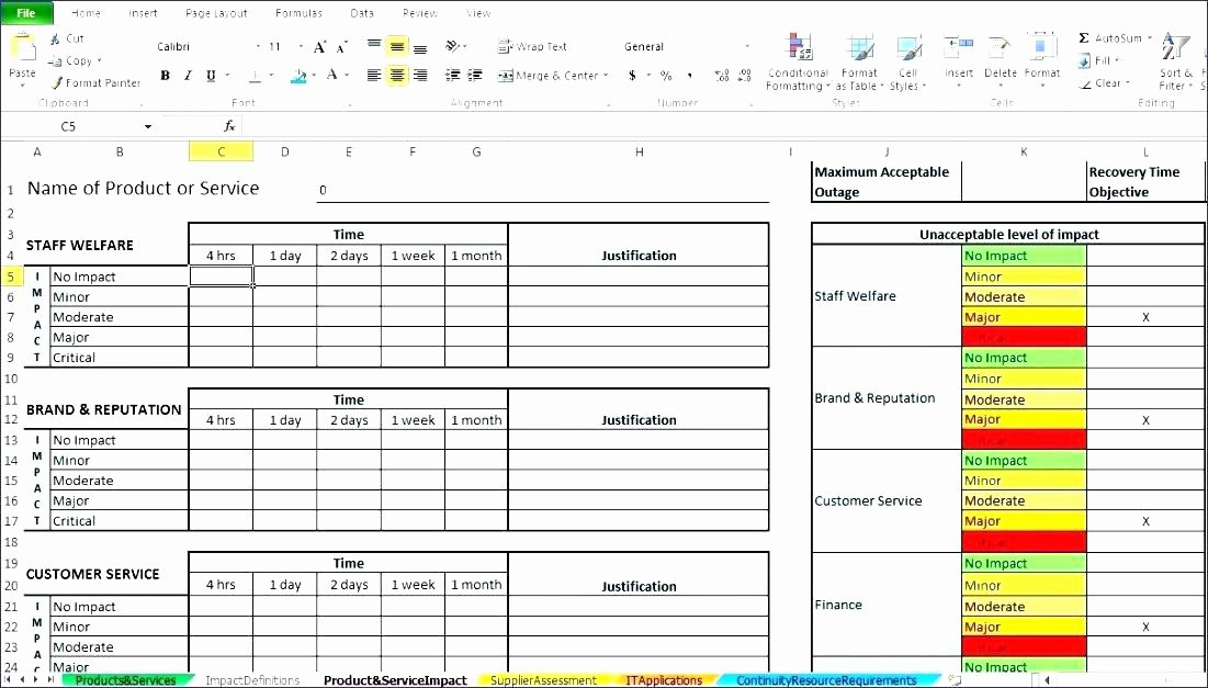 Stakeholder Analysis Template Excel New Business Impact Analysis Sample assessment Template Excel