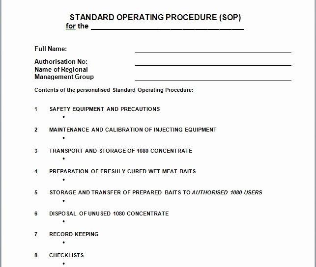 Standard Operating Procedures Template Free Awesome 37 Best Standard Operating Procedure sop Templates