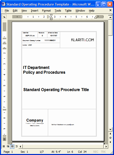 Standard Operating Procedures Template Free Beautiful sop Download Standard Operating Procedures Templates In