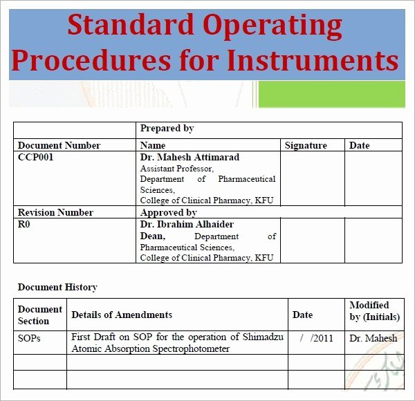 Standard Operating Procedures Template Free Best Of Standard Operating Procedure Template Excel Pdf formats