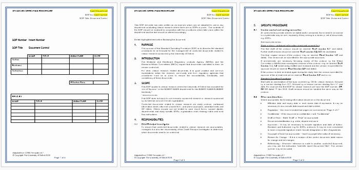 Standard Operating Procedures Template Free Fresh Standard Operating Procedure sop Templates for Word