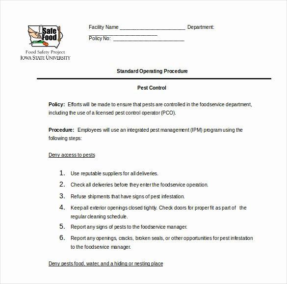 Standard Operating Procedures Template Free New 13 Standard Operating Procedure Templates Pdf Doc
