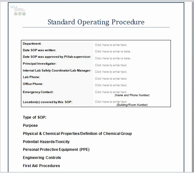 Standard Operating Procedures Template Free Unique 37 Best Standard Operating Procedure sop Templates