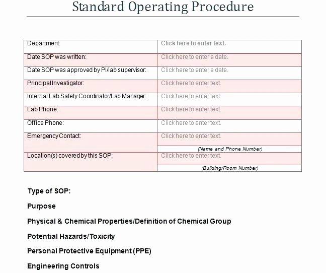 Standard Operating Procedures Template Word Awesome Example Of Standard Operating Procedures Template